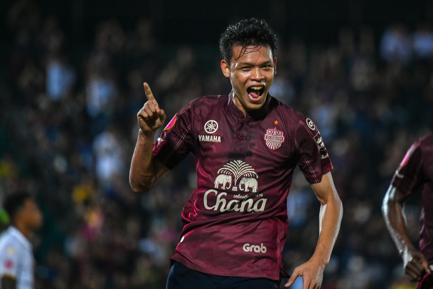 Buriram United's Supachai Chaided reacts after scoring a goal. PR