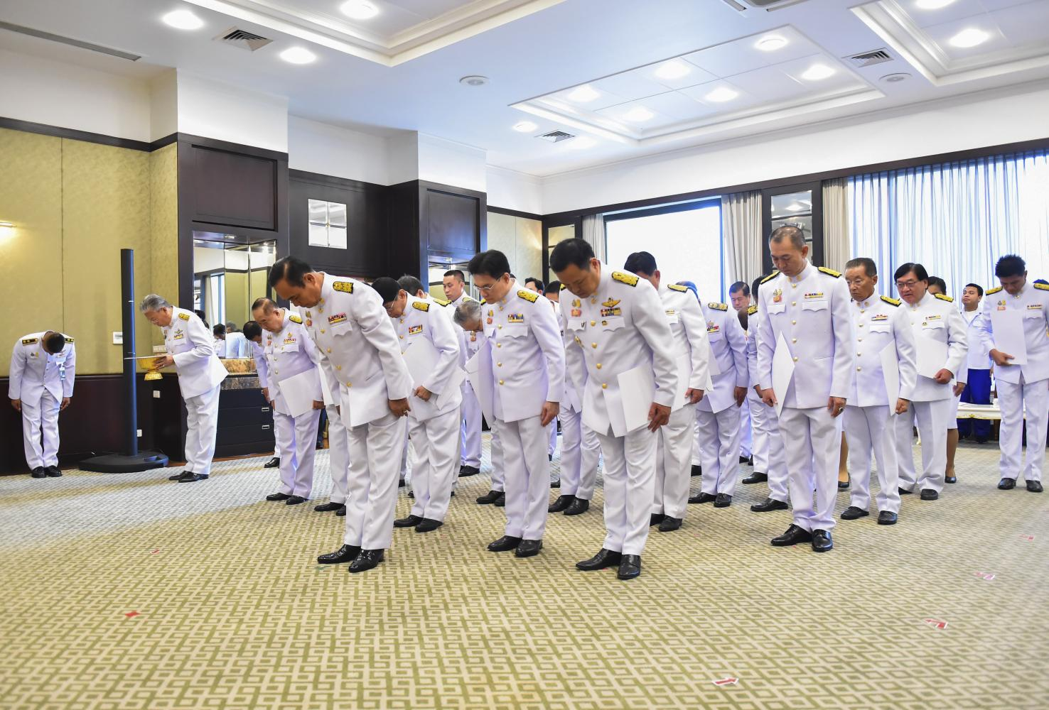 Prime Minister Prayut Chan-o-cha leads his cabinet earlier this week at the reception room of the Command Building in receiving a written message from His Majesty the King.Royal Thai Government House