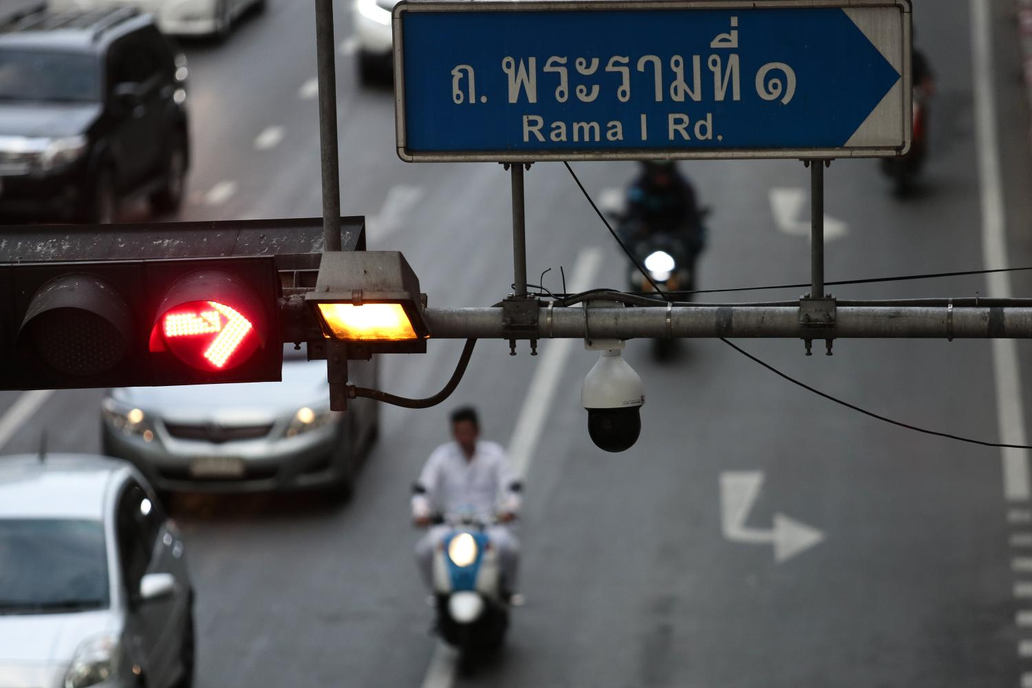 A CCTV camera is installed at the Ratchaprasong intersection, one of the city's busiest traffic junctions.