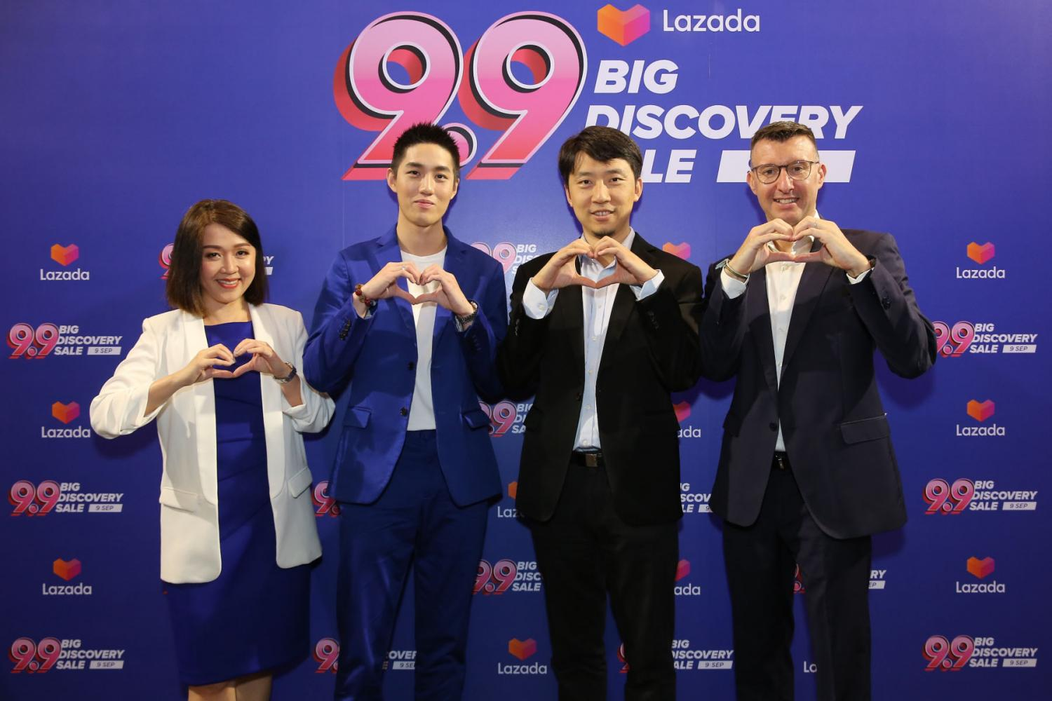 Lazada deputy CEO Jack Zhang (second right) and other executives promote the 9.9 Big Discovery Sale.