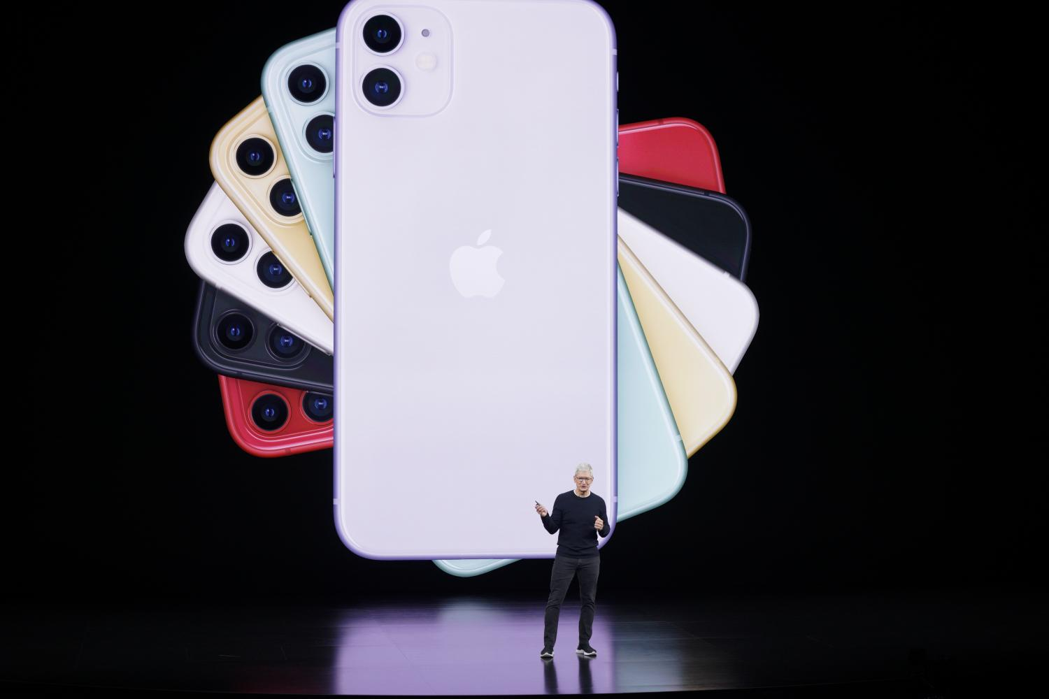 Chief executive Tim Cook unveiled the latest iPhone at Apple's headquarters in Cupertino, California on Tuesday. (AP photo)