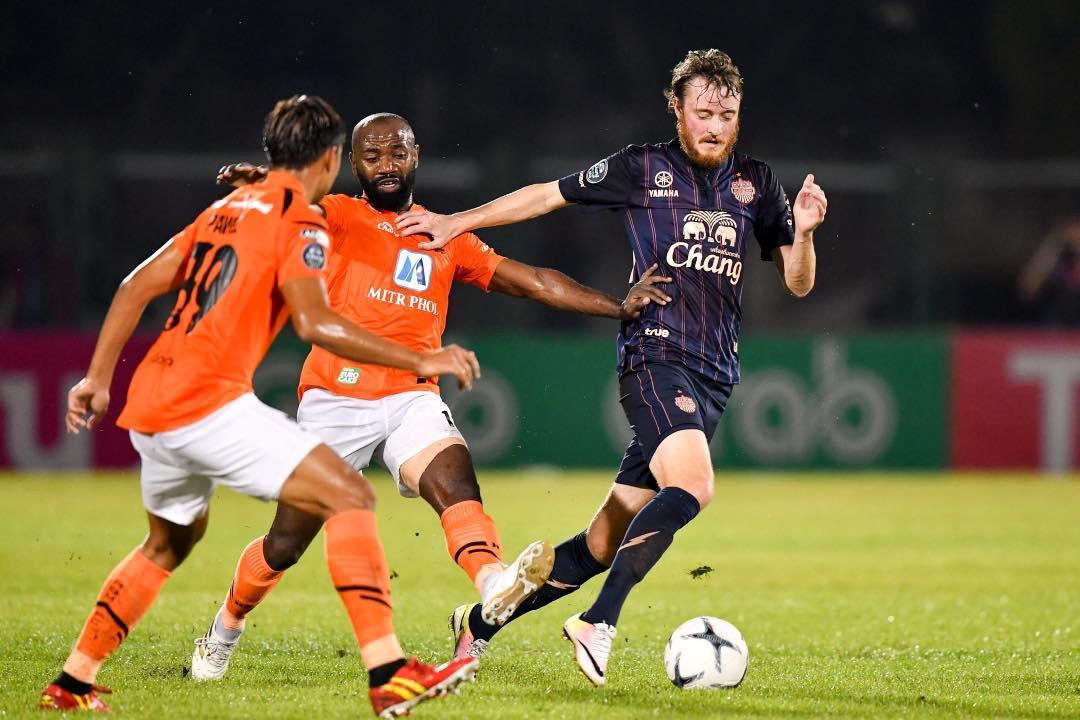 Buriram's Rasmus Jonsson (right) in action against Ratchaburi.