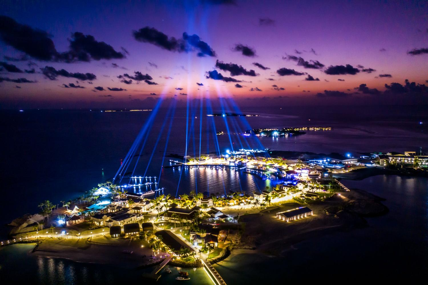 The Marina @ Crossroads, home to a lifestyle district and the heart of the megaproject, is lit up during the official launch ceremony in the Maldives.
