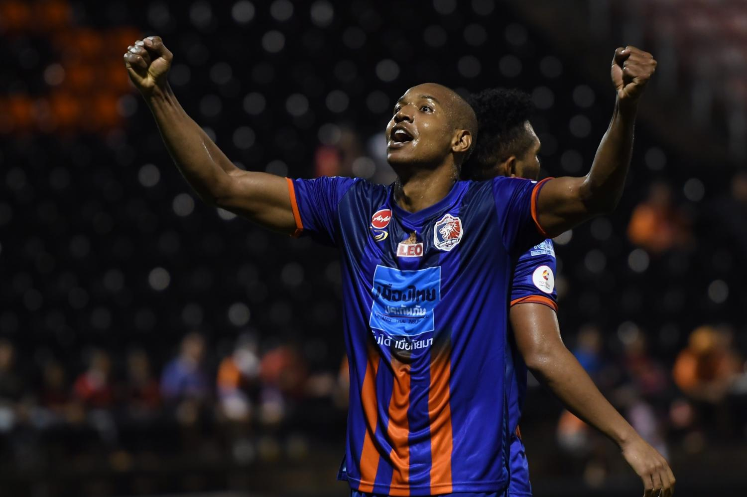 Josimar Rodrigues celebrates after scoring Port's first goal against Chiangmai.