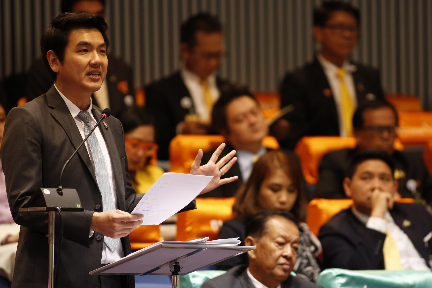 Future Forward Party secretary-general and MP Piyabutr Saengkanokkul speaks in parliament in July. He has declared that he owns more than 2,500 books worth more than one million baht.PATTARAPONG CHATPATTARASILL
