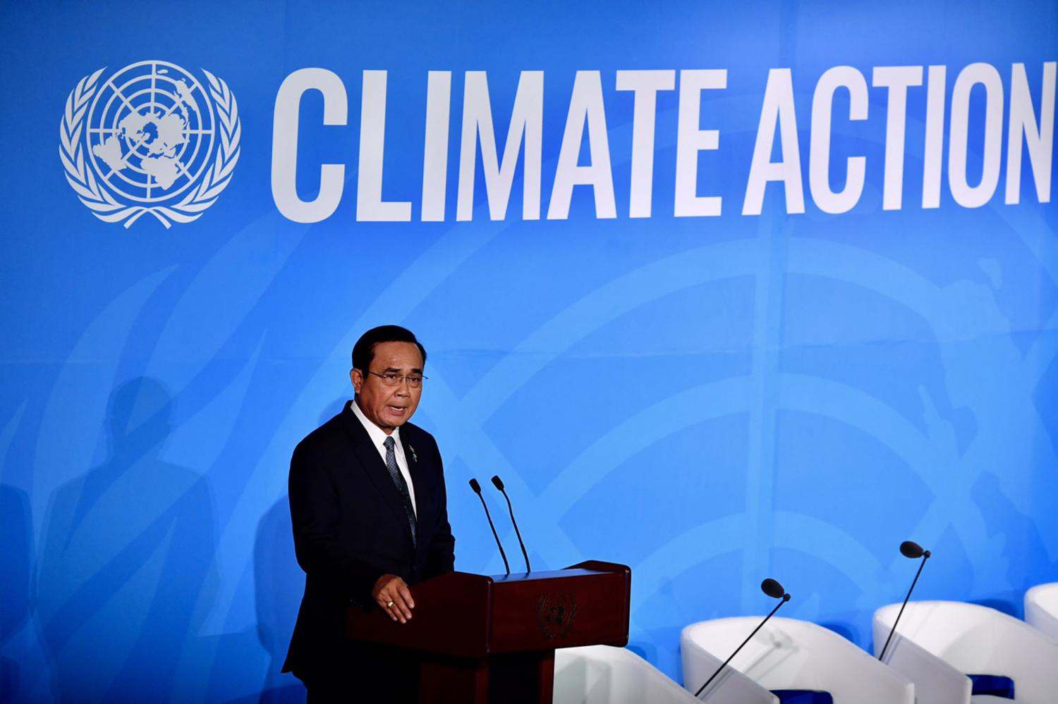 Prime Minister Prayut Chan-o-cha represents Asean members while addressing the United Nations Climate Action Summit 2019 in New York. (Government House photo)