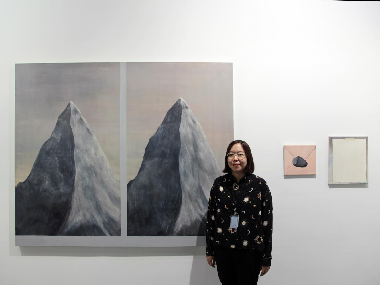 Prae Pupityastaporn with her piece titled Twin Peaks. Nova Contemporary