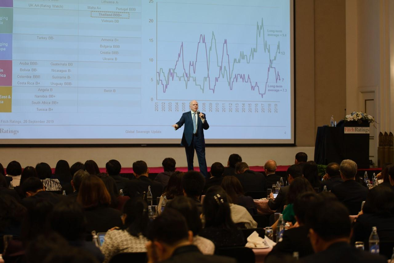 James McCormack, global head of sovereign and supranational ratings at Fitch, discusses global risks and Thailand's economic outlook in the Grand Hall at the Athenee Hotel.