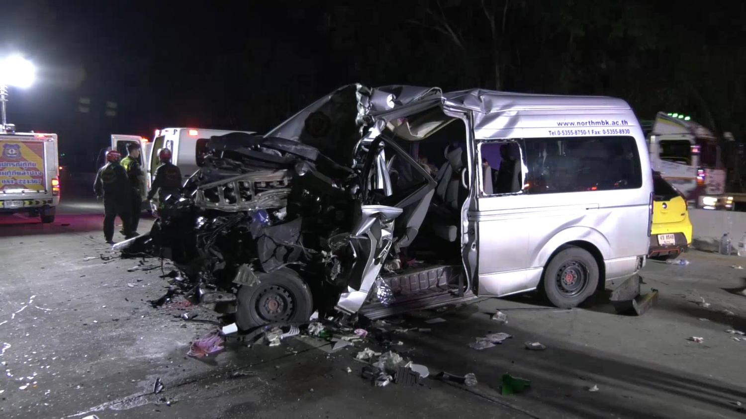 The wrecked passenger van after it rear-ended a lorry in Lampang's Ko Kha district yesterday, killing three students. Assawin Wongnorekaew