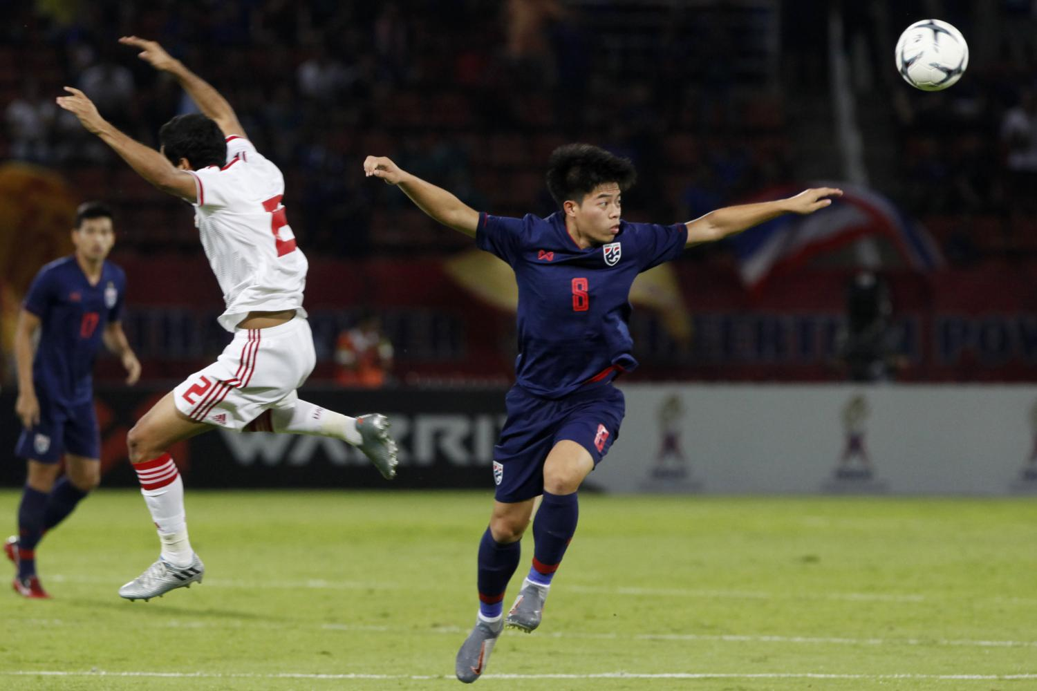 Thailand's Ekanit Panya, right, plays against the UAE at Thammasat Stadium on Tuesday.Wichan Charoenkiatpakul  Wichan Charoenkiatpakul