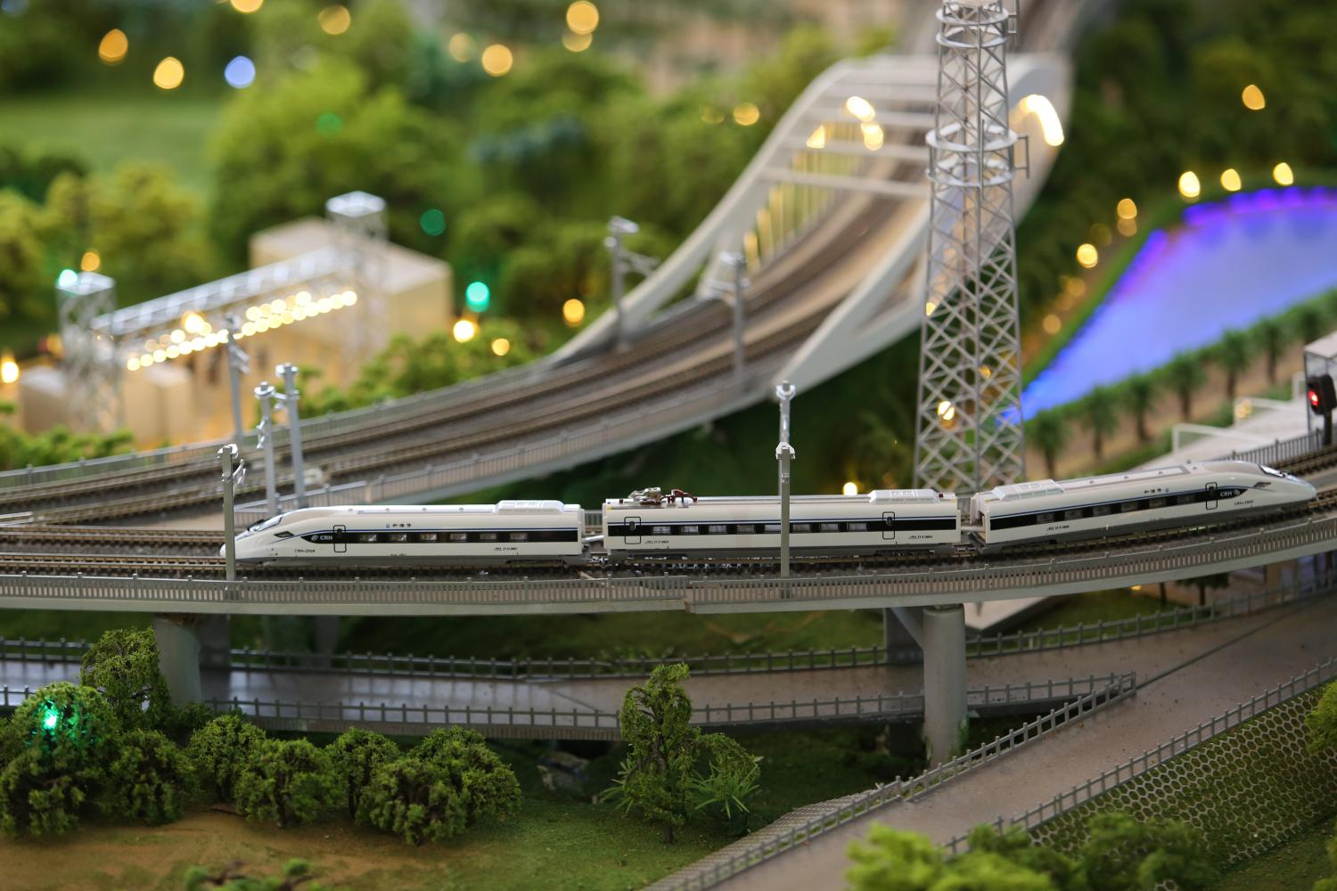 Model railway: A miniature version of the Thai-Chinese high-speed railway scheme's first section from Bangkok to Nakhon Ratchasima.