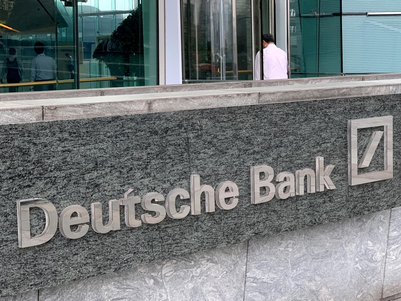 The logo of Deutsche bank is seen in Hong Kong, one of the 14 countries in the Asia Pacific region where the bank operates. REUTERS