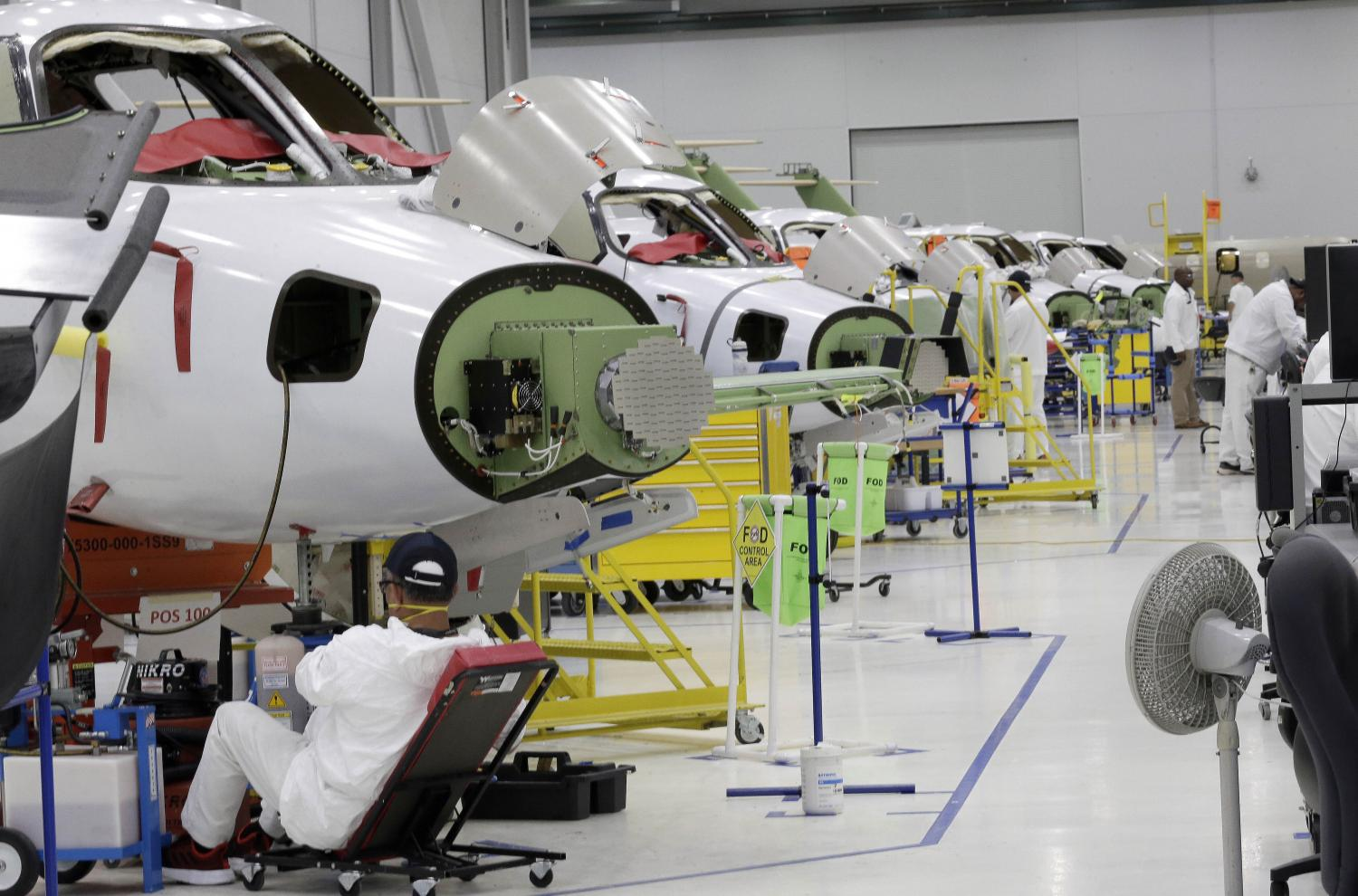 This photo taken on July 30, 2019 shows the production area at Honda Aircraft Co's headquarters in Greensboro, North Carolina where the HondaJet Elite aircraft is manufactured. (AP photo)