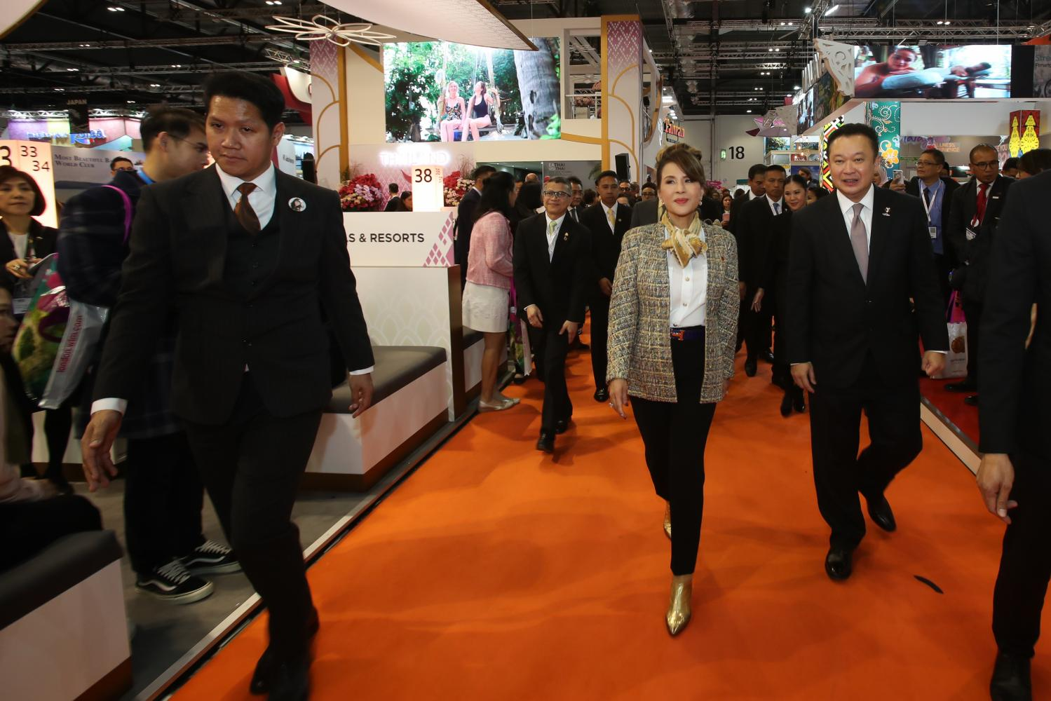 Princess Ubolratana visits the Thailand pavilion at WTM 2019 in London.