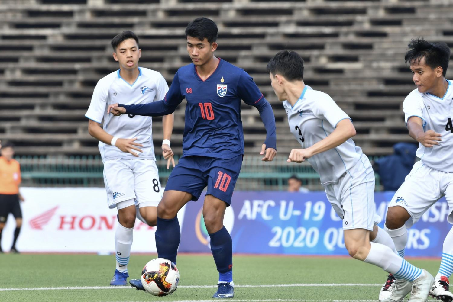 Thailand U19 forward Suphanat Mueanta, No.10, in action against Northern Mariana Islands in Cambodia on Wednesday.