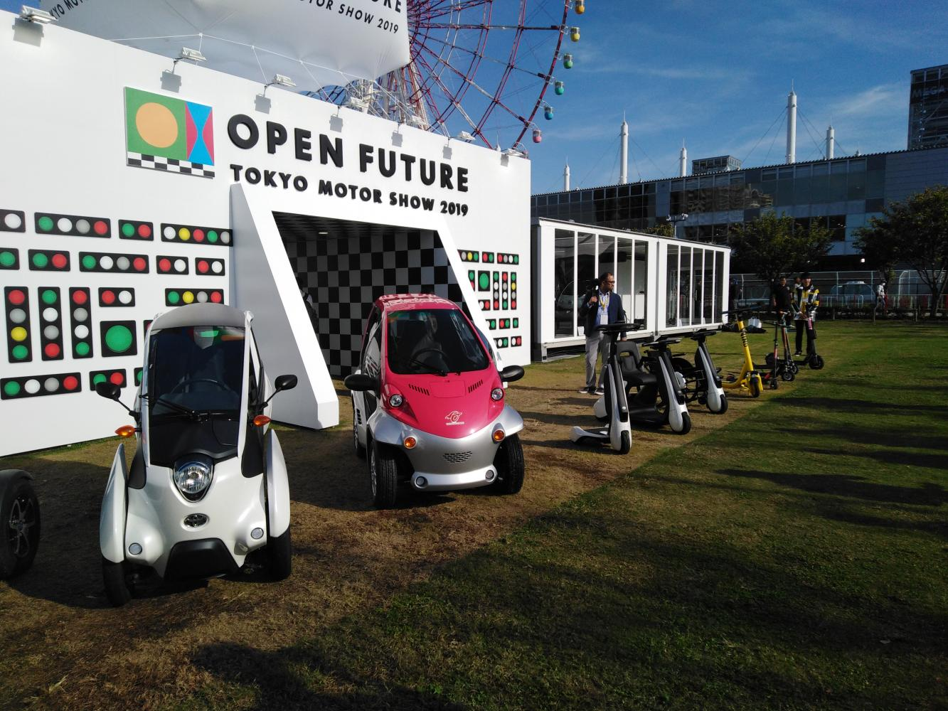 Toyota electric mobility products are parked for public test drives at the Tokyo Motor Show. (Photo by Piyachart Maikaew)