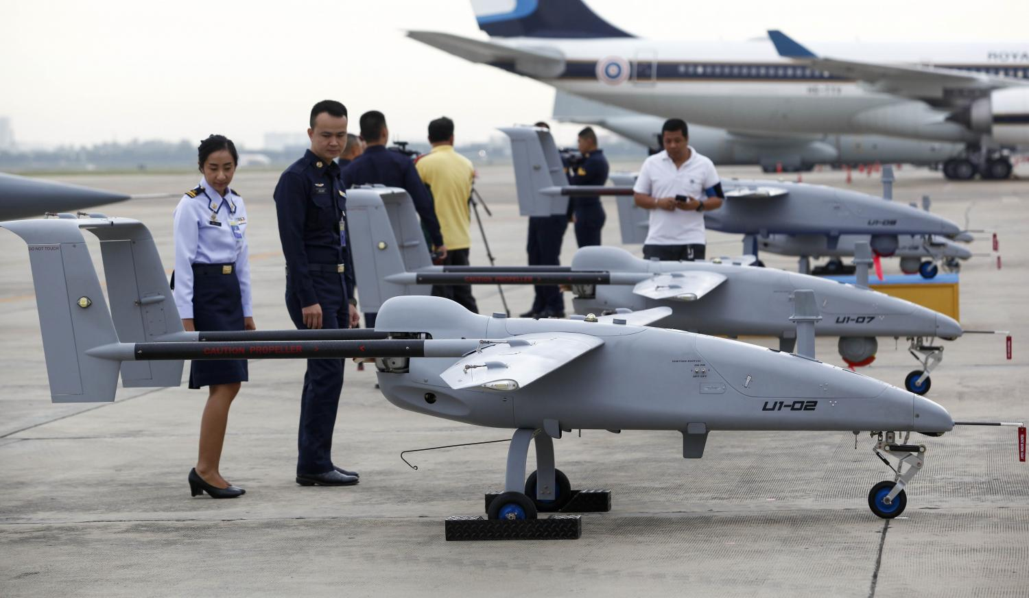Unmanned RTAF U1 aircraft are prepared to be commissioned into the air force in a ceremony presided over on Thursday by air force chief ACM Maanat Wongwat at the 6th Wing in Bangkok's Don Muang area. Pattarapong Chatpattarasill