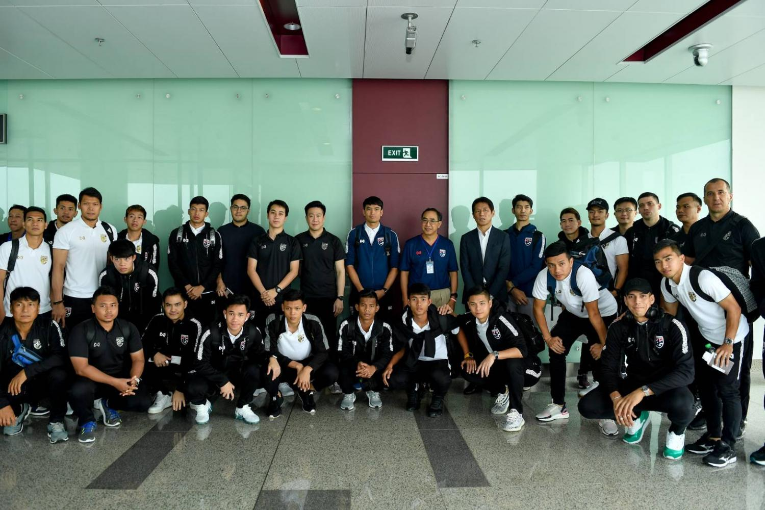 Thailand national team upon their arrival at the Hanoi airport on Saturday.