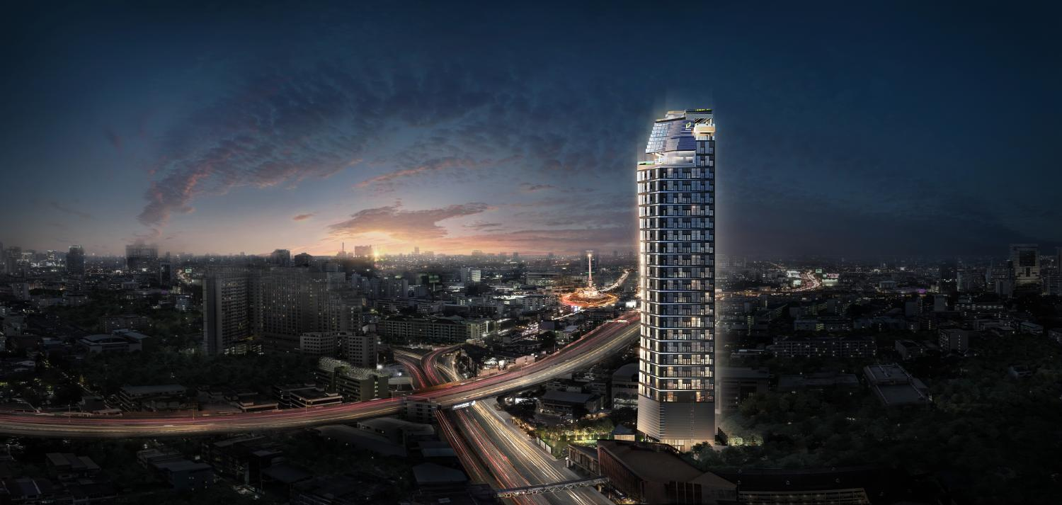 A digital rendition of The Tree Victory Monument, a 31-storey condo with 253 units worth 1.3 billion baht that Pruksa Real Estate plans to launch this weekend.