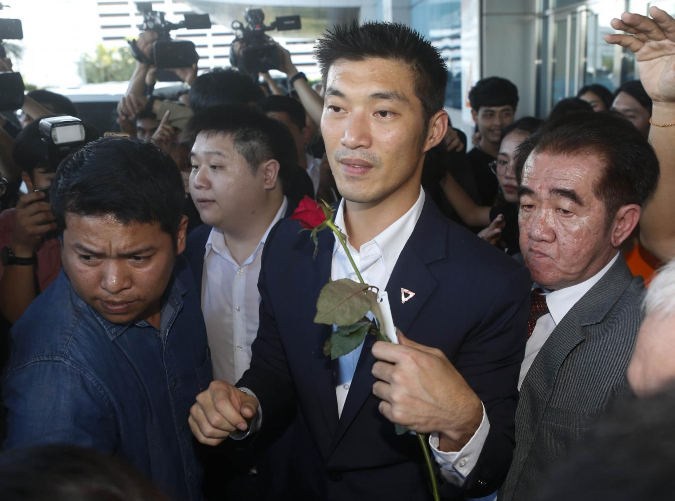 Future Forward Party leader Thanathorn Juangroongruangkit leaves the Constitutional Court after its ruling on Wednesday.Pattarapong Chatpattarasill