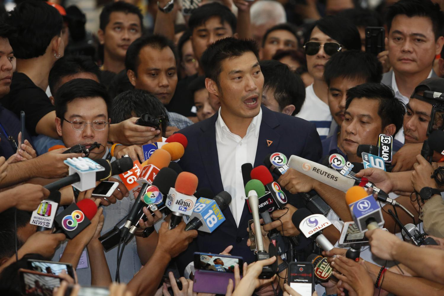 Future Forward Party leader Thanathorn Juangroongruangkit talks to the media on Wednesday after the Constitutional Court's ruling on the media shareholding case against him.PATTARAPONG CHATPATTARASILL