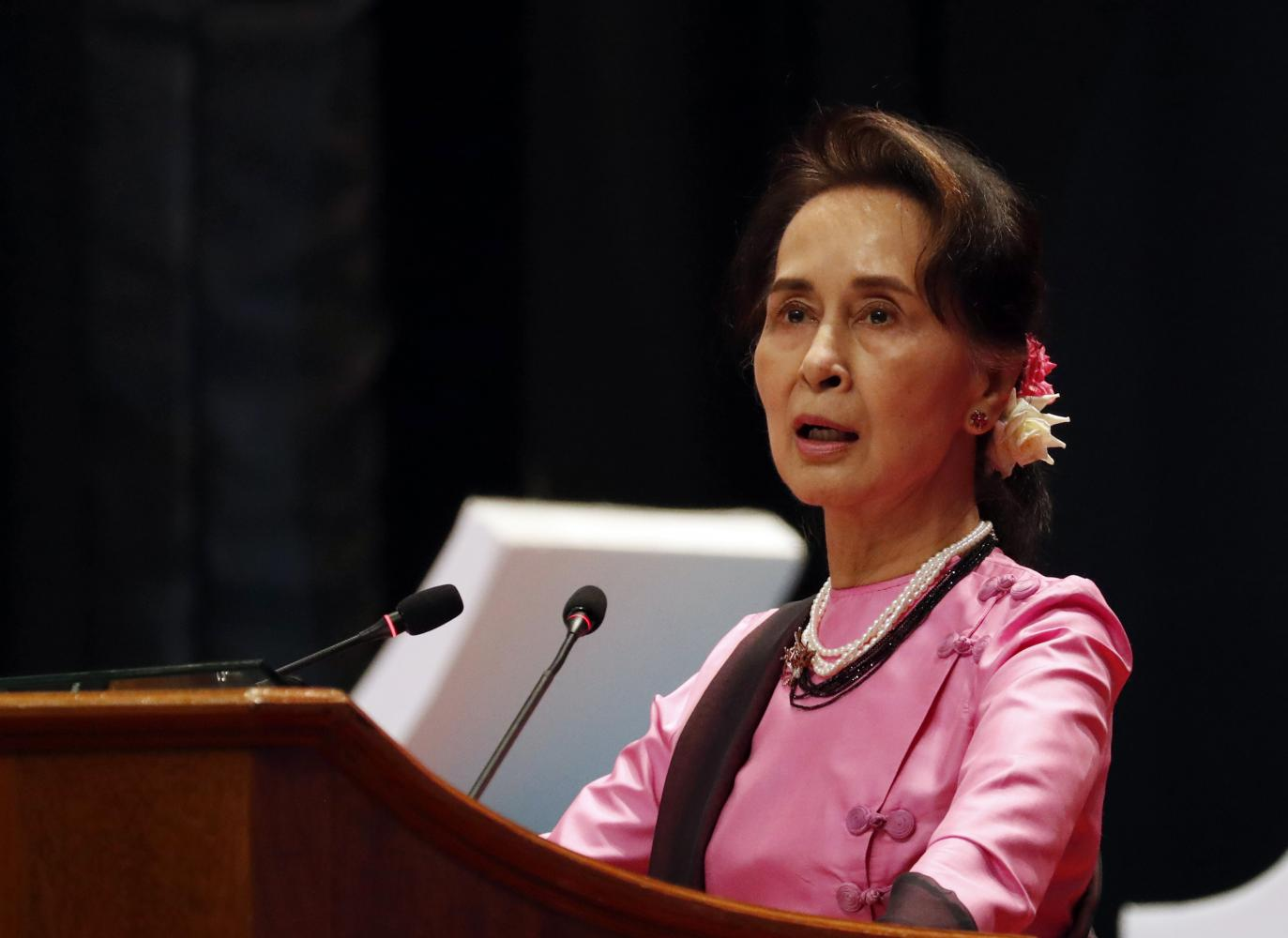 Myanmar's leader Aung San Suu Kyi speaks in Naypyitaw on Friday. She will lead the country's defence team to contest a case at the International Court of Justice. (AP photo)