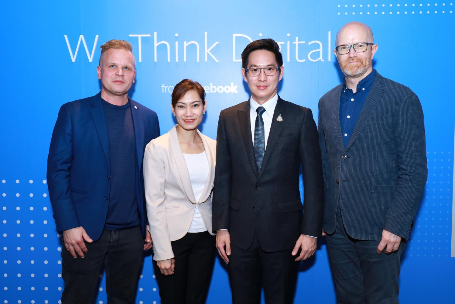 From left Michael Bak, head of public policy for Facebook Thailand; Pijitra Suppasawatgul, Journalism Department head at Chulalongkorn University; Newin Chochaiyathip, vice-minister of the DES Ministry; and Simon Milner, vice-president for public policy in APAC at Facebook.