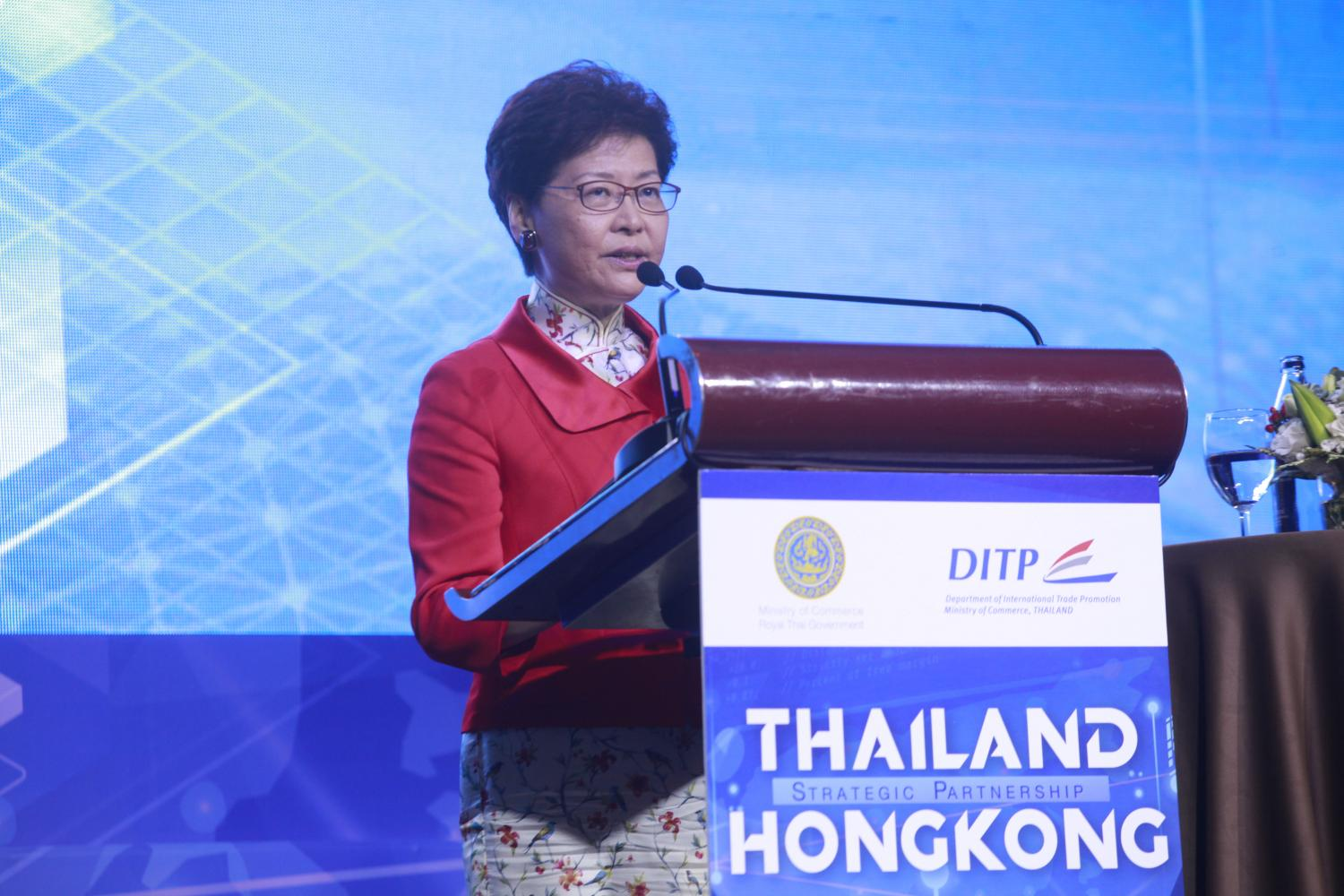 Hong Kong chief executive Carrie Lam speaks at the Thailand-Hong Kong Strategic Partnership event held in February. Ms Lam plans to call on Prime Minister Prayut Chan-o-cha Friday evening. Pornprom Satrabhaya