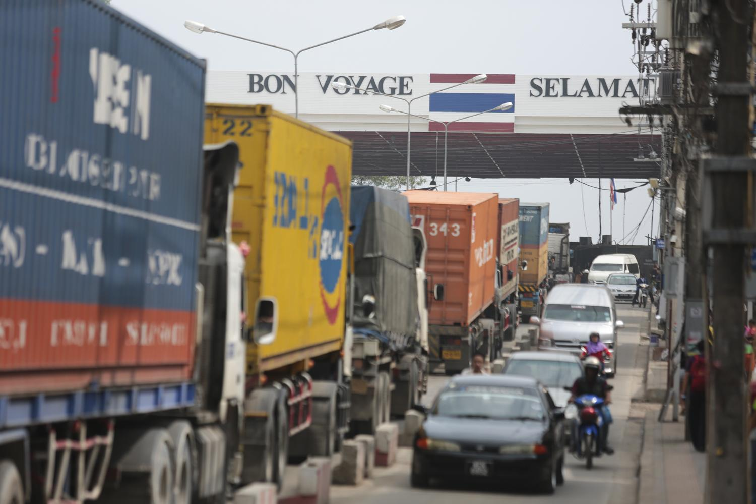 Traffic at the Sadao checkpoint in Songkhla province, on the border with Malaysia. Malaysia remains the country's biggest partner for border trade.Patipat Janthong