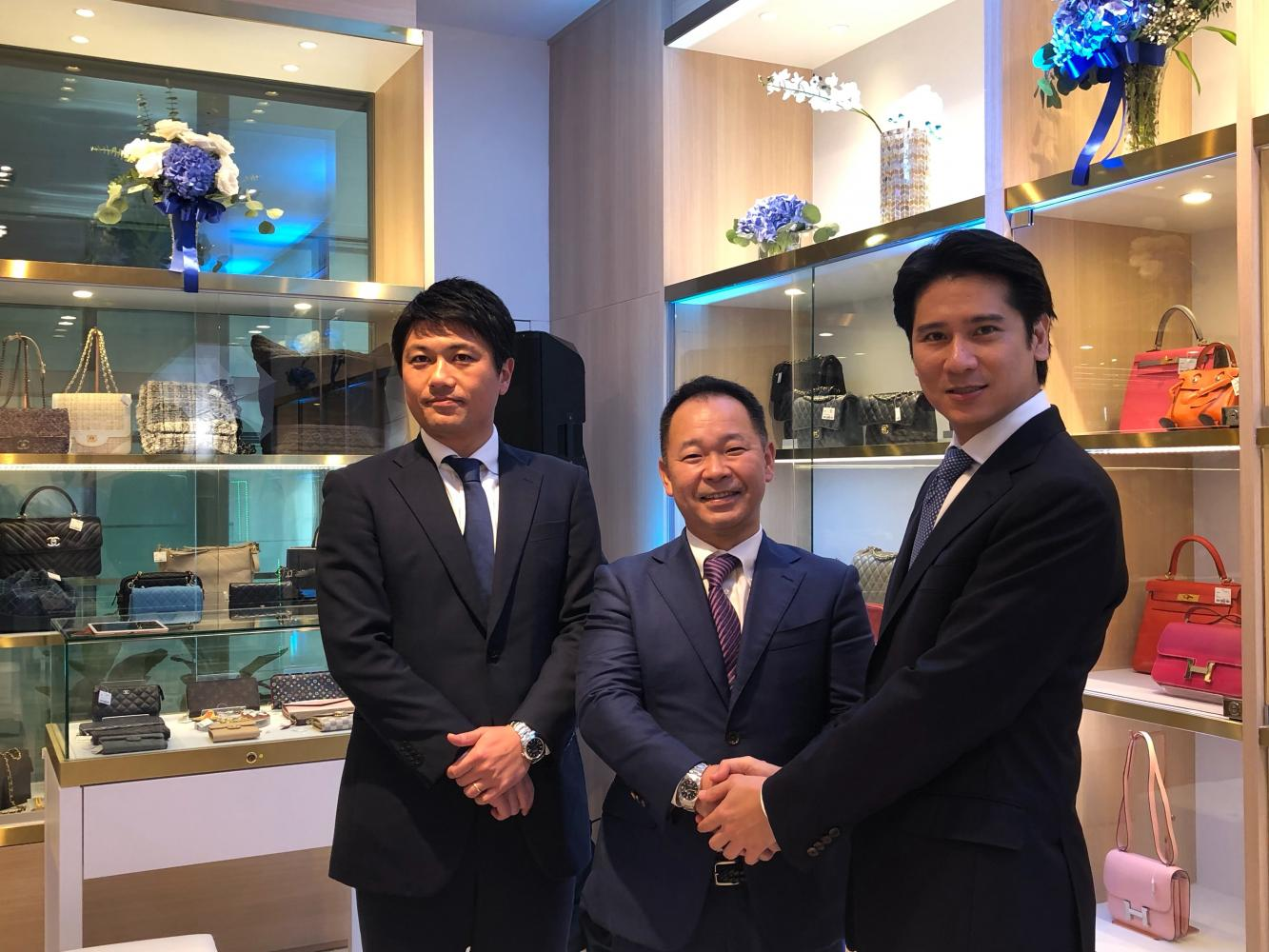 From leftMr Takeo, Mr Ishihara and Mr Vichai in the Komehyo store on the second floor of Central@CentralWorld.