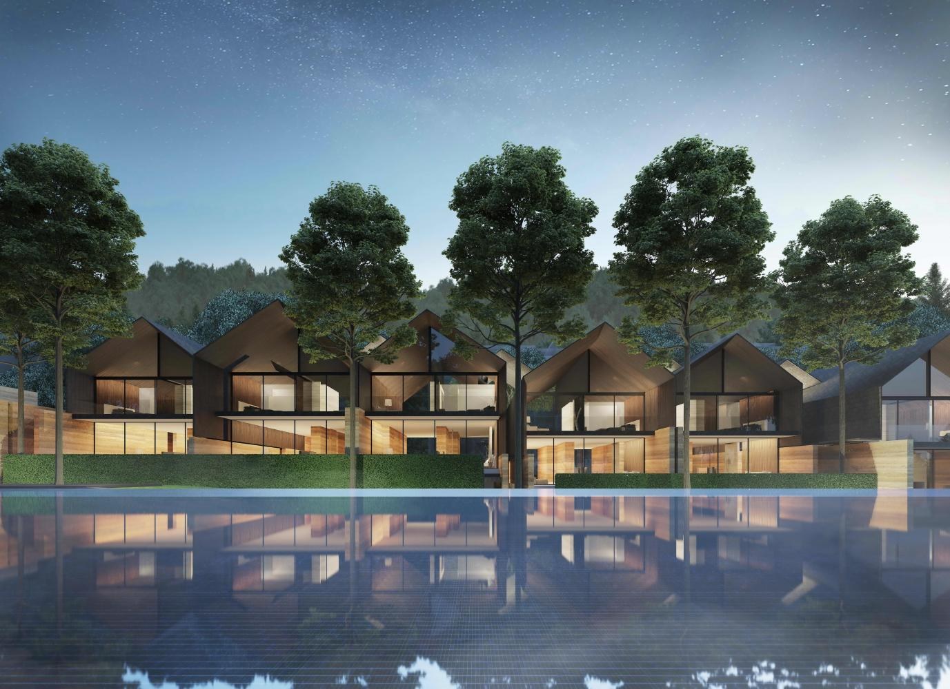 An artist's rendition of Akas Villa Khaoyai, a condo resort project on a four-rai plot in Khao Yai with 23 villa-style condo units.