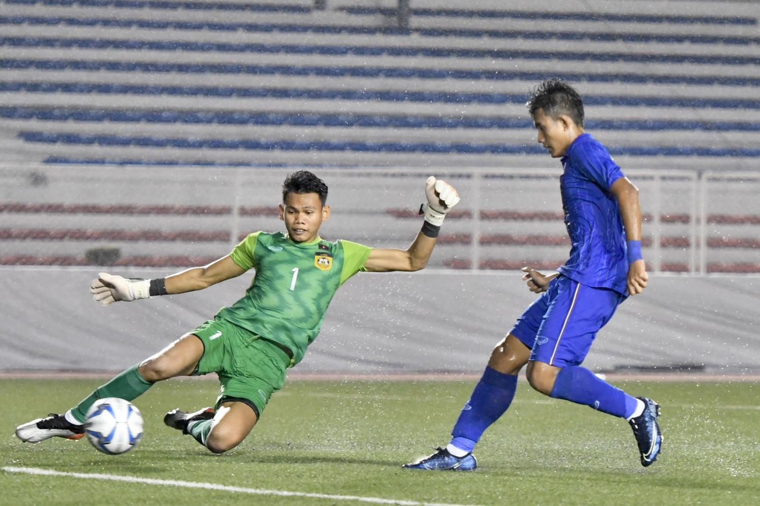 Thailand's Suphanat Mueanta, right, scores his second goal against Laos on Tuesday.
