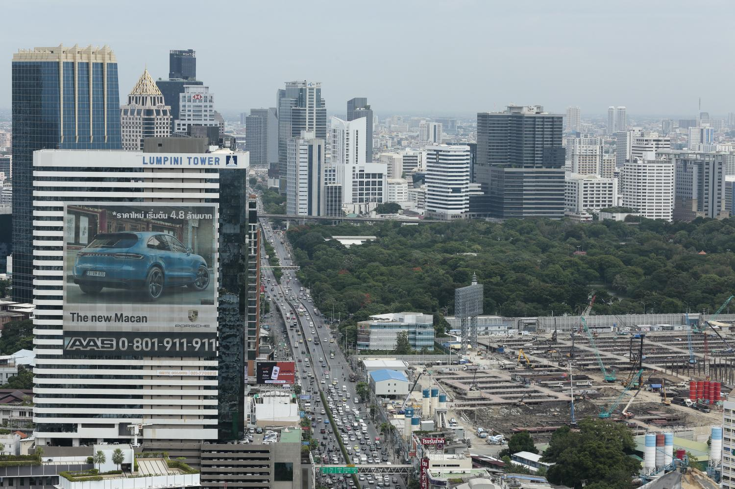 Rama IV Road will soon have a different skyline, with four mixed-use projects set to open within five years. (Photo by Patipat Janthong)