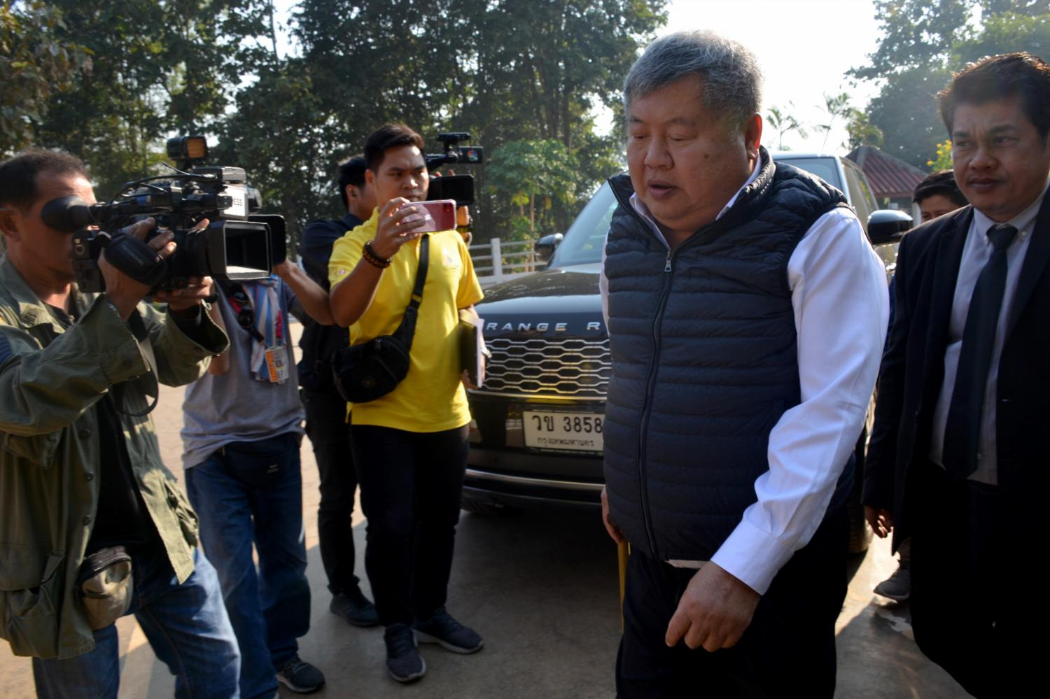 Construction tycoon Premchai Karnasuta arrives at Thong Pha Phum Court to hear a ruling on Thursday on his appeal against a lower court ruling in a high-profile 2018 wildlife poaching case. PIYARACH CHONGCHAROEN