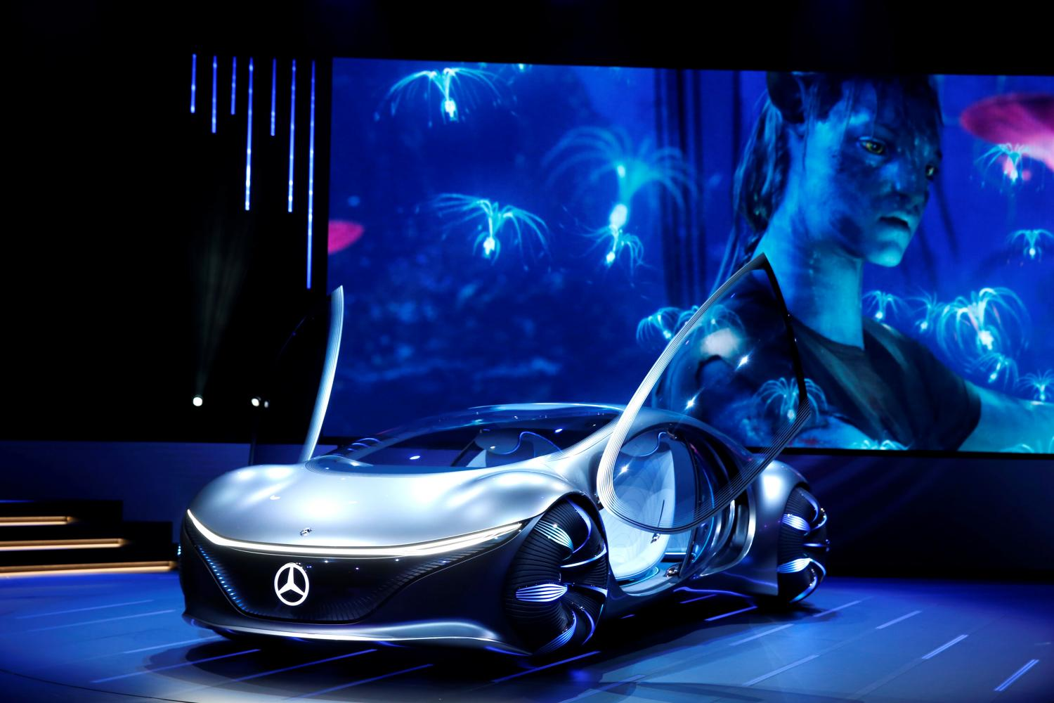 Avatar-themed concept car The Mercedes-Benz Vision AVTR concept car, inspired by the Avatar movies, is displayed after an unveiling at a Daimler keynote address during the 2020 CES in Las Vegas on Monday. (Reuters photo)