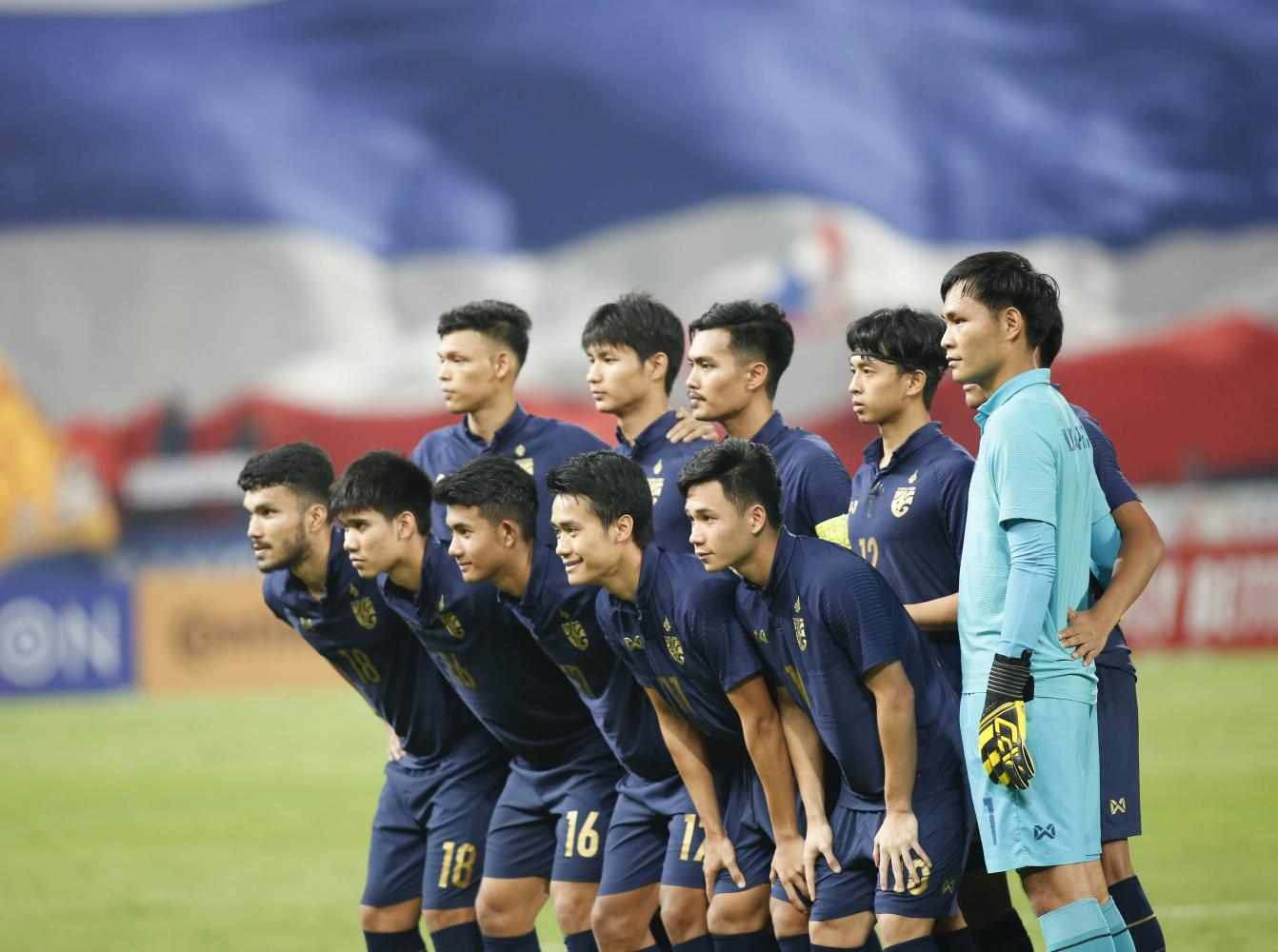 Thailand U23 players pose for a group photo ahead of their Group A game with Australia on Saturday. Pattarapong Chatpattarasill