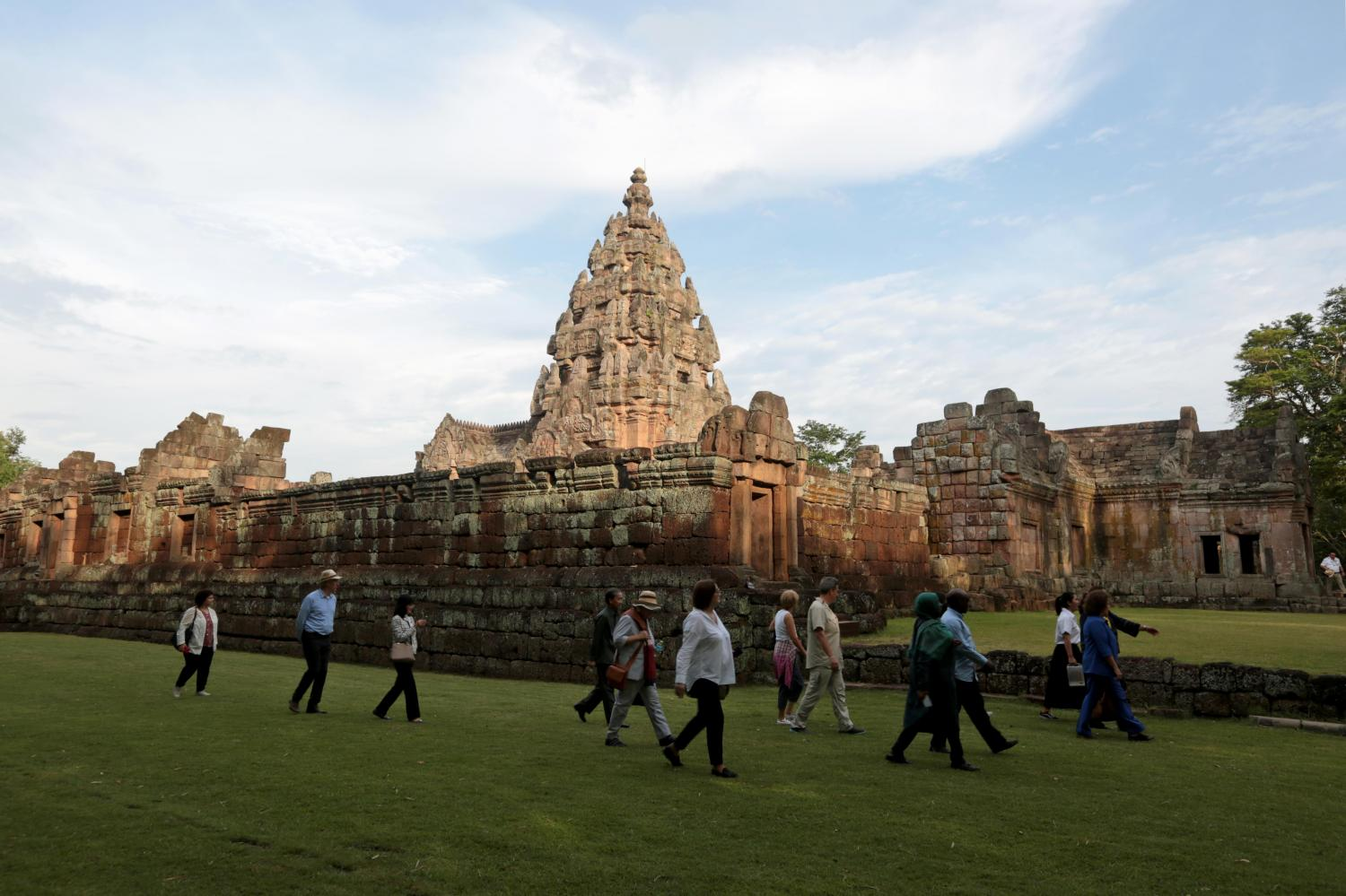 Diplomats and their spouses walk around Phanom Rung Historical Park in Buri Ram to study the history of the ancient site that is on the tentative list of Unesco's World Heritage sites. Chanat Katanyu