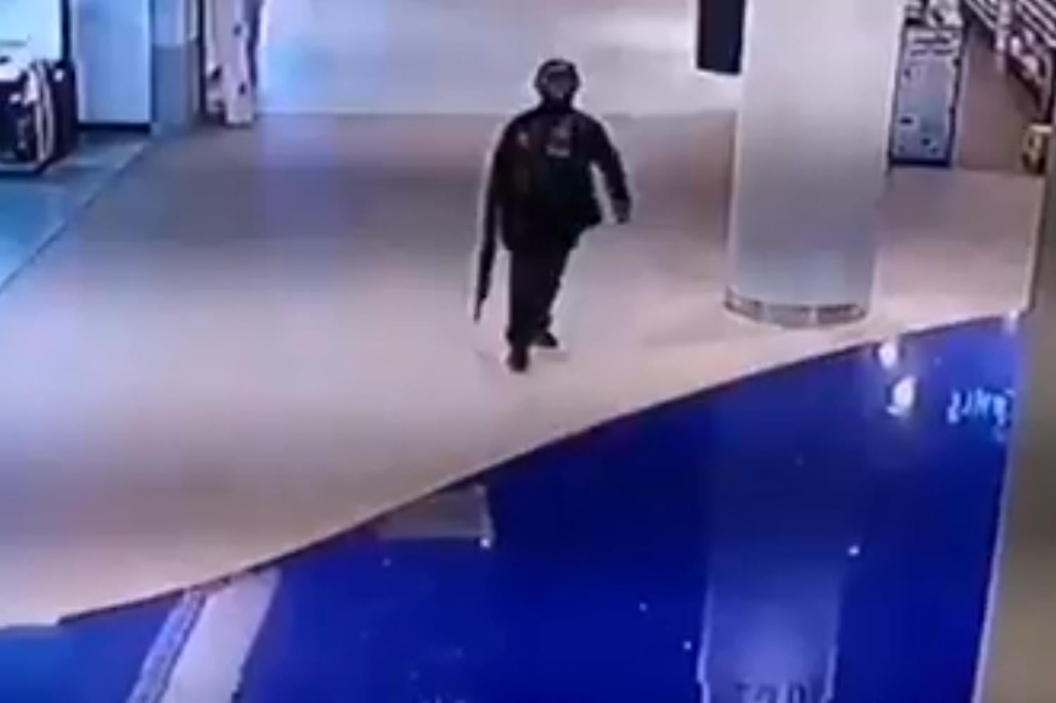 CAUGHT ON FILM: The suspected shooter in a CCTV grab at Terminal 21 shopping mall.