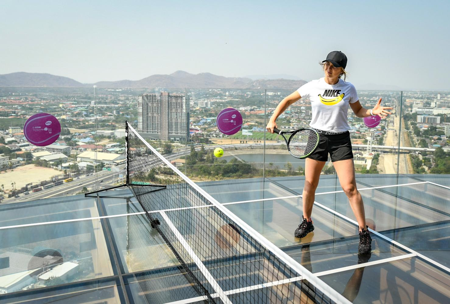 Ukraine's Elina Svitolina plays on the rooftop of the Holiday Inn Resort Vana Nava Hua Hin in a promotional event on Monday.