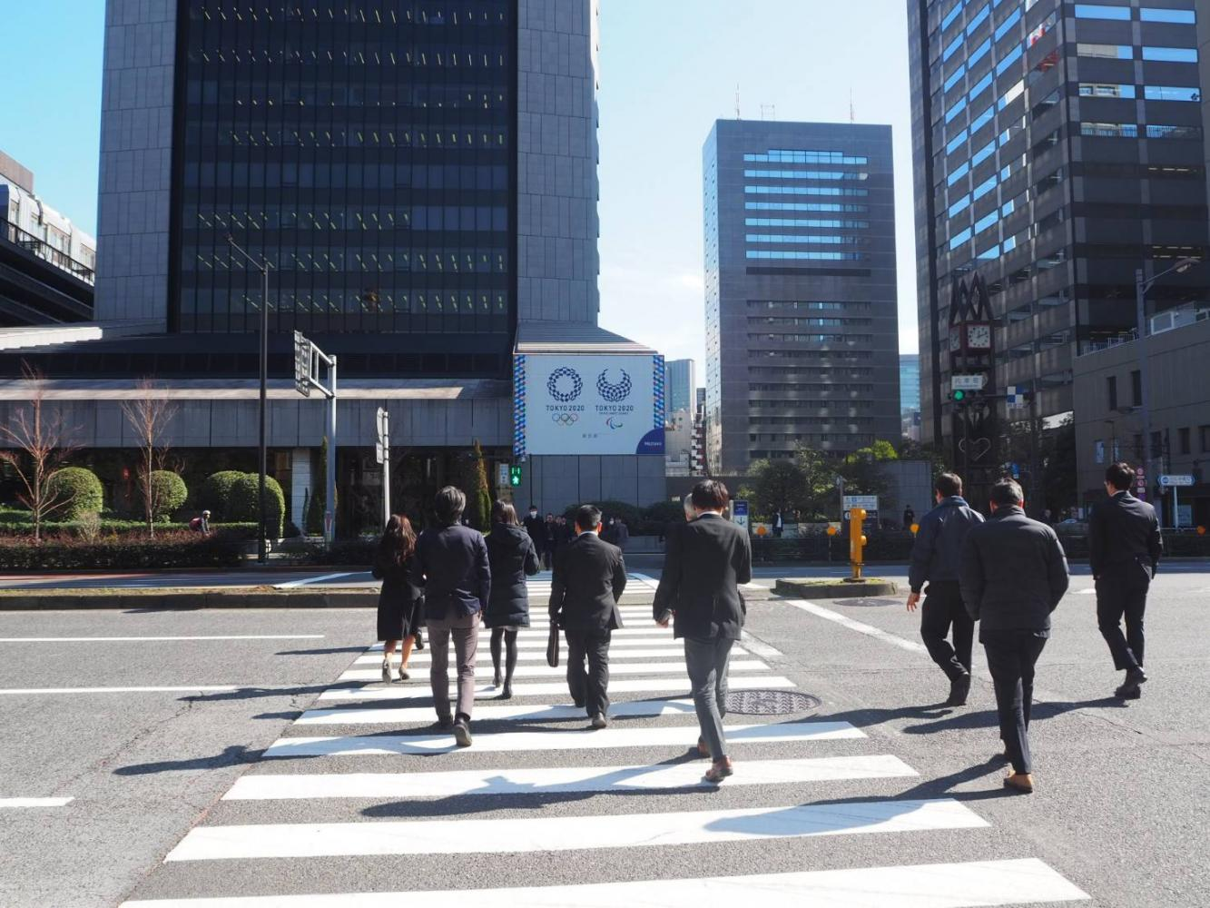 A billboard in Hibiya, Tokyo promotes the Olympic and Paralympic Games this summer in Japan.