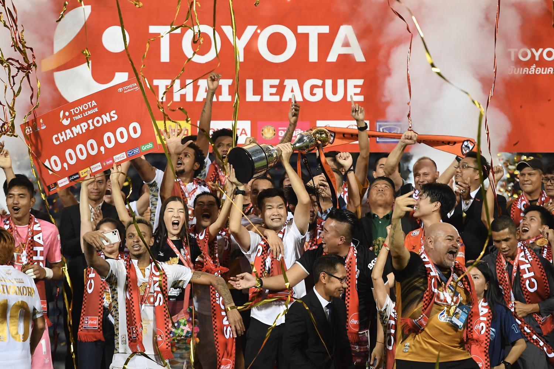 Chiang Rai United celebrate winning the Thai League 1 last year.