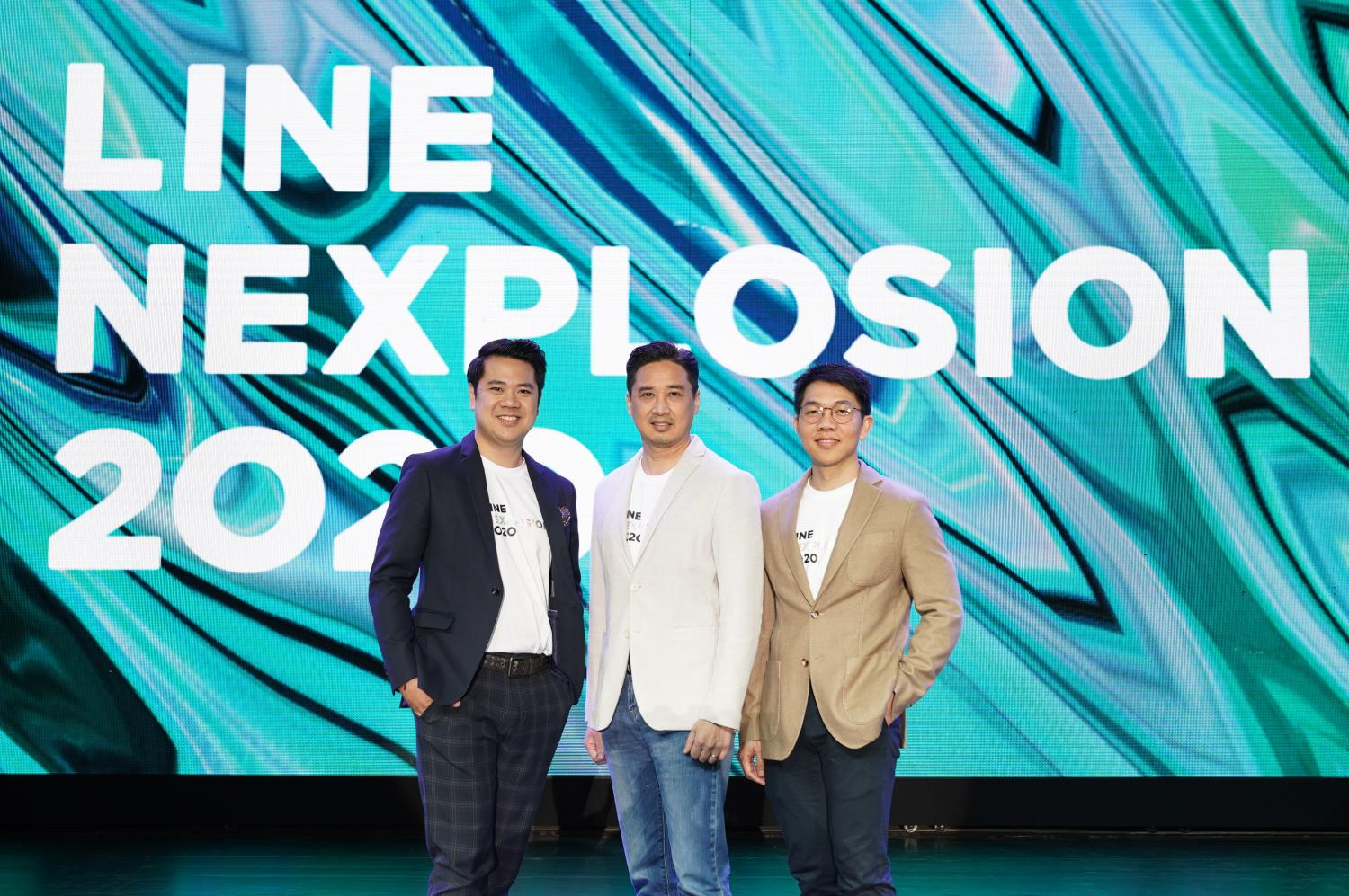 From leftMr Kanop, Phichet Rerkpreecha and Mr Norasit propose the company's strategy at Line Nexplosion 2020.