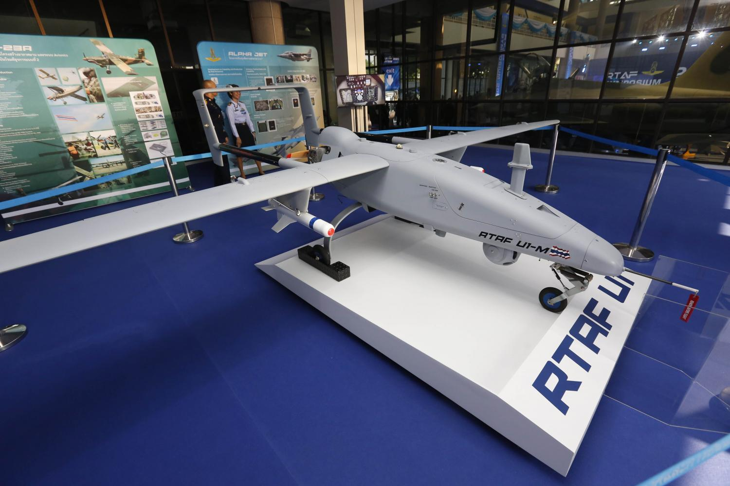 An Unmanned Aerial Vehicle (UAV) is displayed at the 2020 Royal Thai Air Force Symposium on defence technology, held yesterday at the Air Force Museum in Bangkok. Pattarapong Chatpattarasill