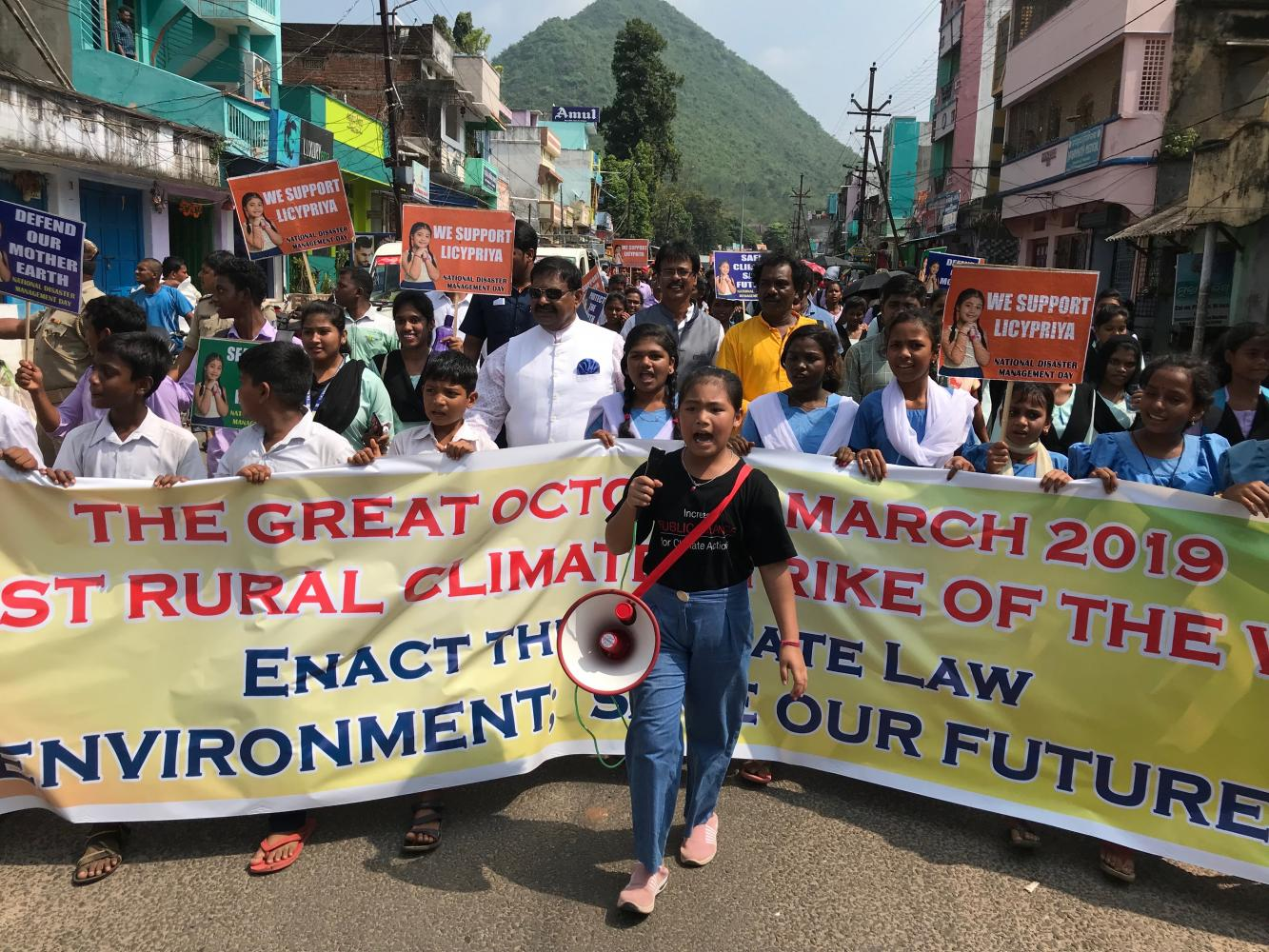 Licypriya Kangujam leads a climate strike in Odisha state of India in October 2019. Photo: The Child Movement via Reuters