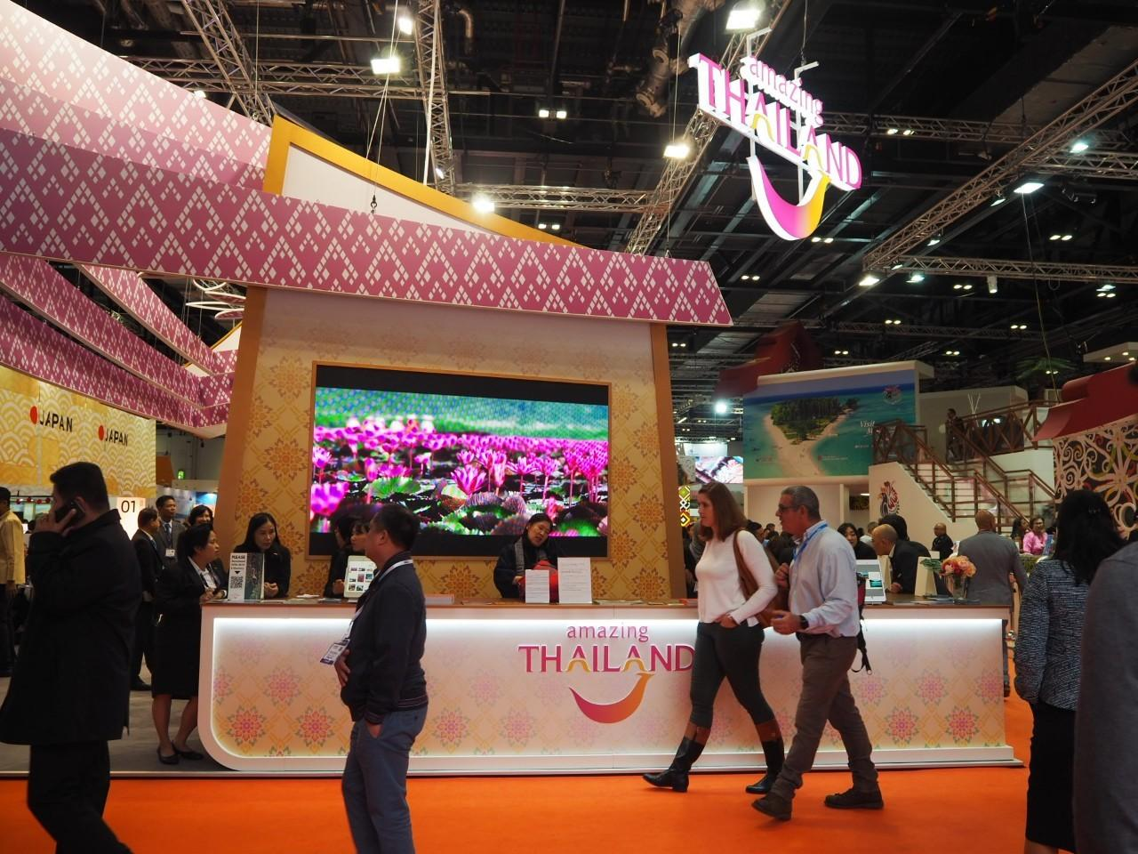 The 'Amazing Thailand' pavilion at World Travel Market 2019 in London.