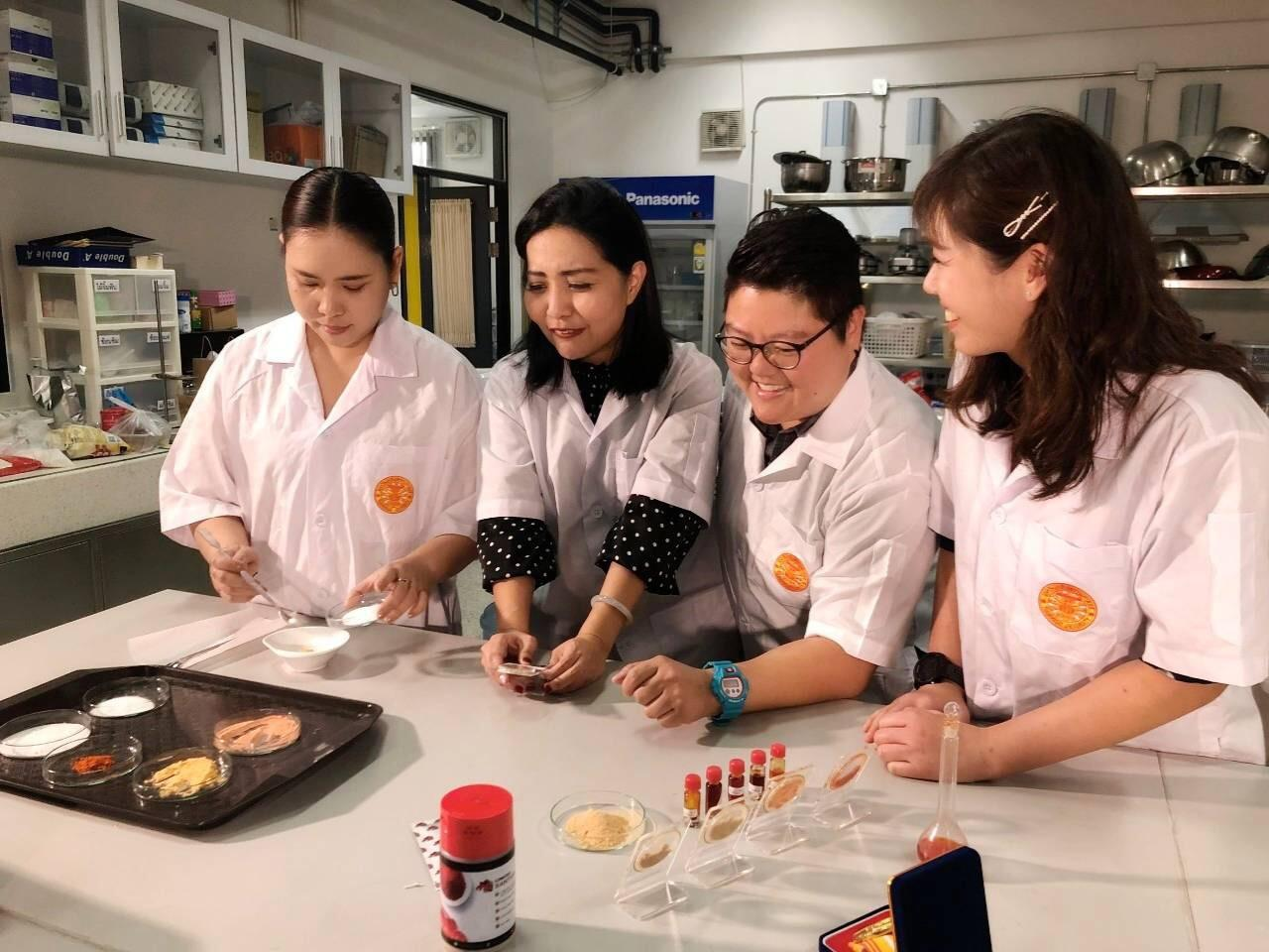 Researchers from Thammasat University's faculty of science and technology, who are working to produce health supplements and all-natural seasoning from lobster shells.
