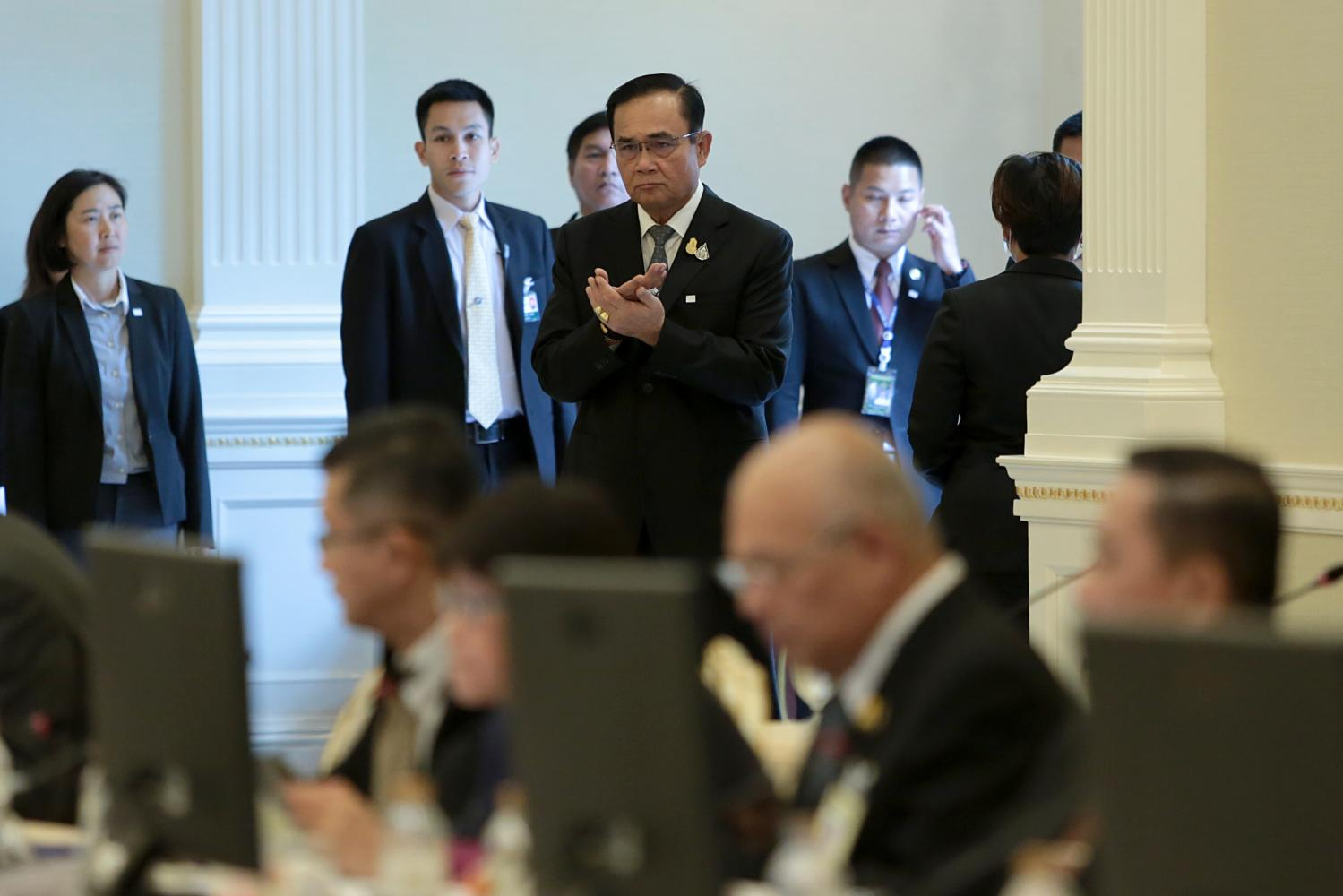 Prime Minister Prayut Chan-o-cha presides over a government meeting on the Covid-19 outbreak at Government House on March 4. (Photo by Chanat Katanyu)
