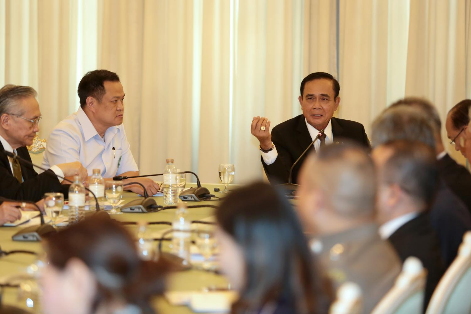 Prime Minister Gen Prayut Chan-o-cha speaks during a meeting on the Covid-19 outbreak last week at Government House.CHANAT KATANYU