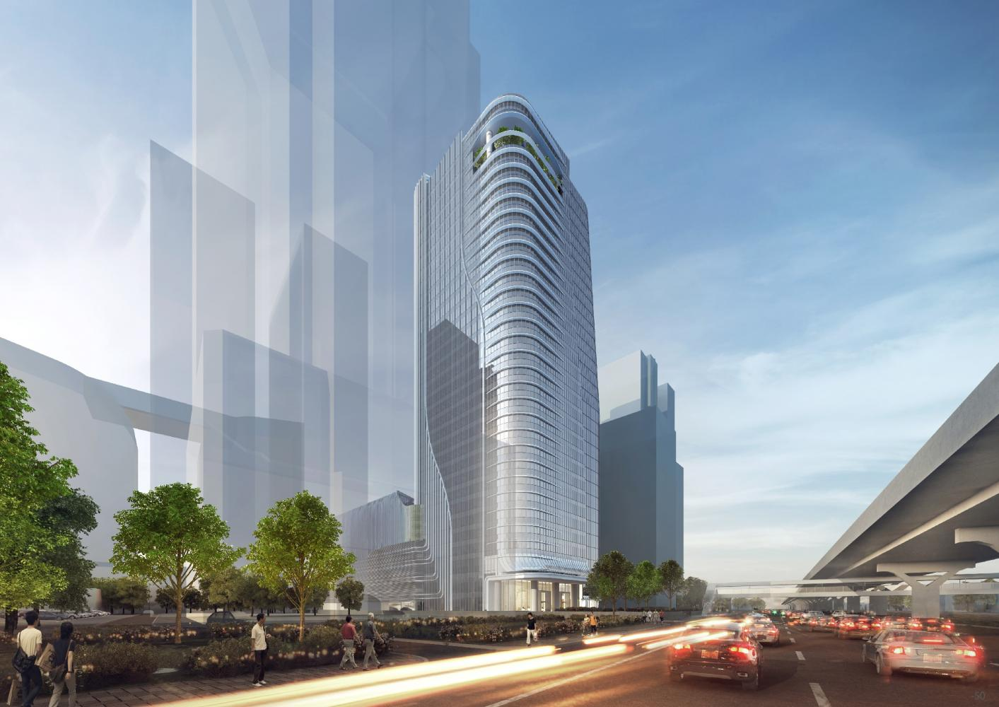 Singha Estate's office tower on Vibhavadi Rangsit Road in Chatuchak district is to be completed next year.
