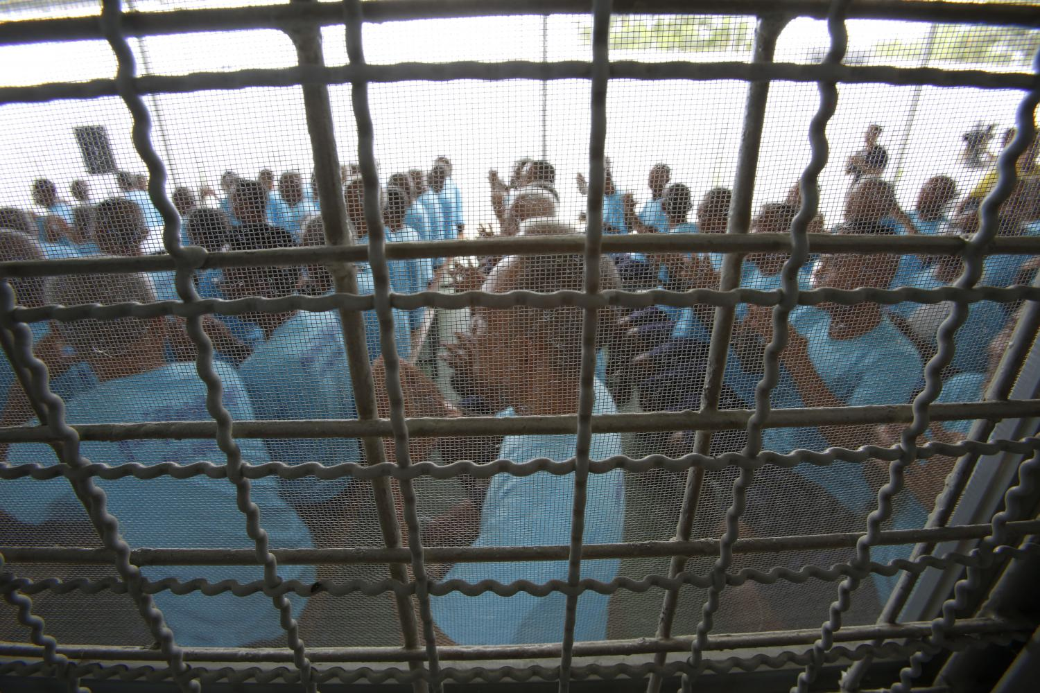 Prisoners gather in Klong Prem Prison in Bangkok last year. The Covid-19 outbreak risks the lives of inmates linked to non-violent drug crime. (Photo by Pornprom Sattrabhaya)